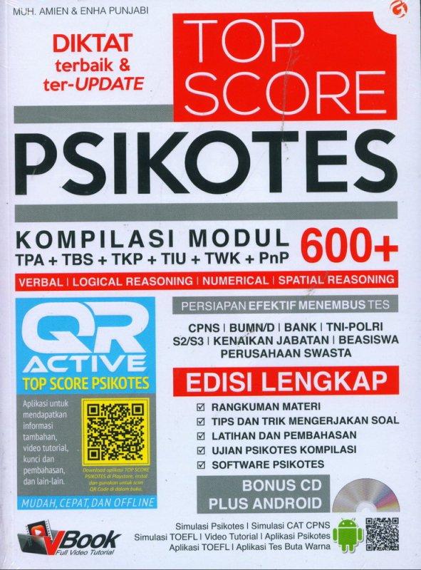Cover Buku TOP SCORE PSIKOTES KOMPILASI MODUL 600+