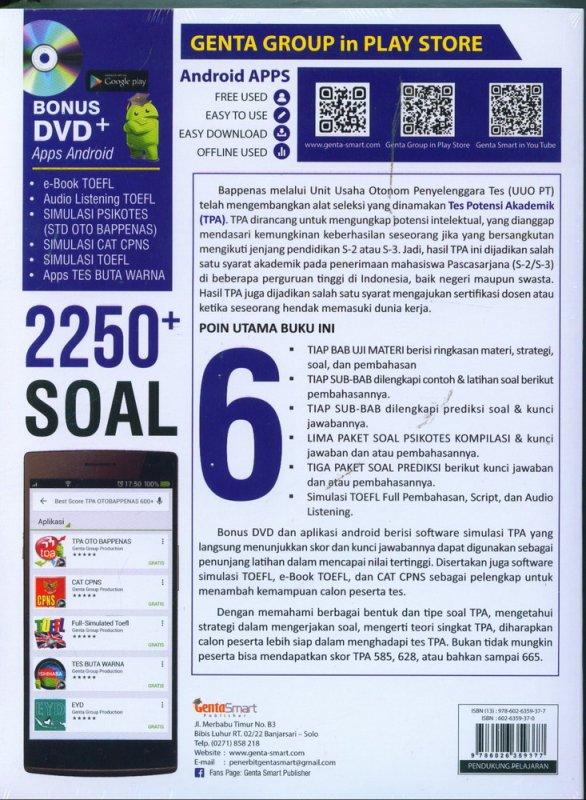Cover Belakang Buku BEST SCORE TPA OTO BAPPENAS 600+