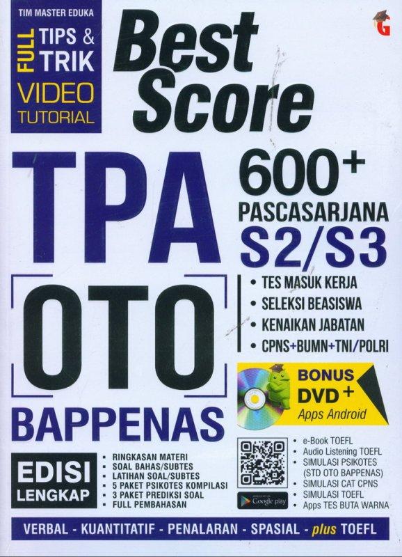 Cover Buku BEST SCORE TPA OTO BAPPENAS 600+