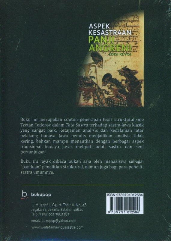 Cover Belakang Buku Aspek Kesastraan Panji Angreni Edisi Revisi