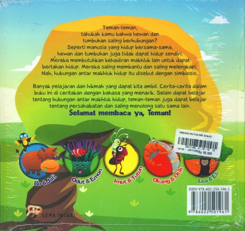 Cover Belakang Buku Simbiosis Mutualisme Bo & Jali: 5 Kisah antar makhluk yang saling menguntungkan