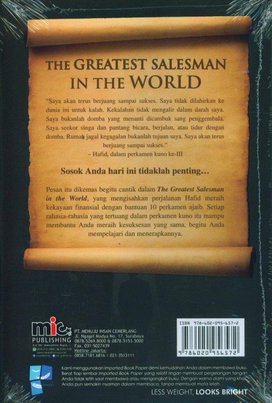 Cover Belakang Buku The Greatest Salesman In The World