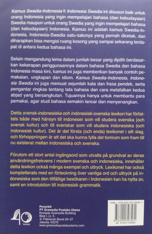 Cover Belakang Buku Kamus Swedia - Indonesia / Indonesia - Swedia (Disc 50%)