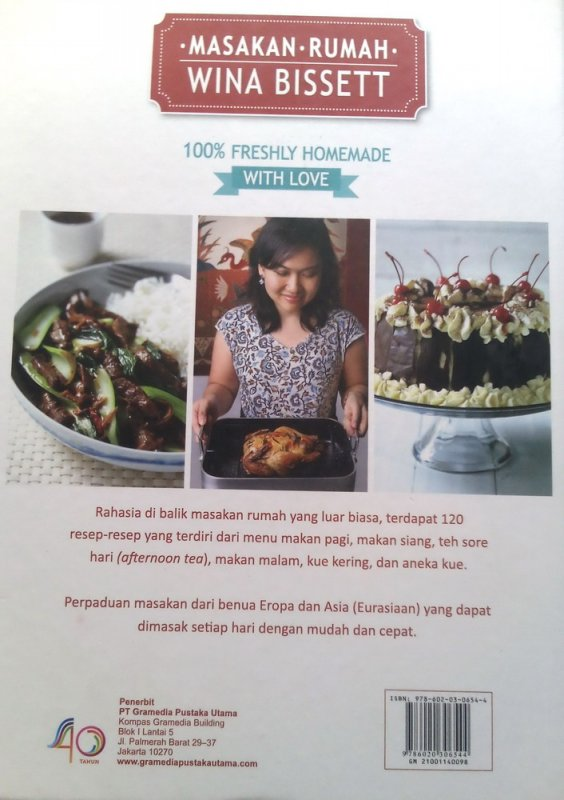 Cover Belakang Buku Masakan Rumah Wina Bissett: 100% Freshly Homemade With Love (Disc 50%)