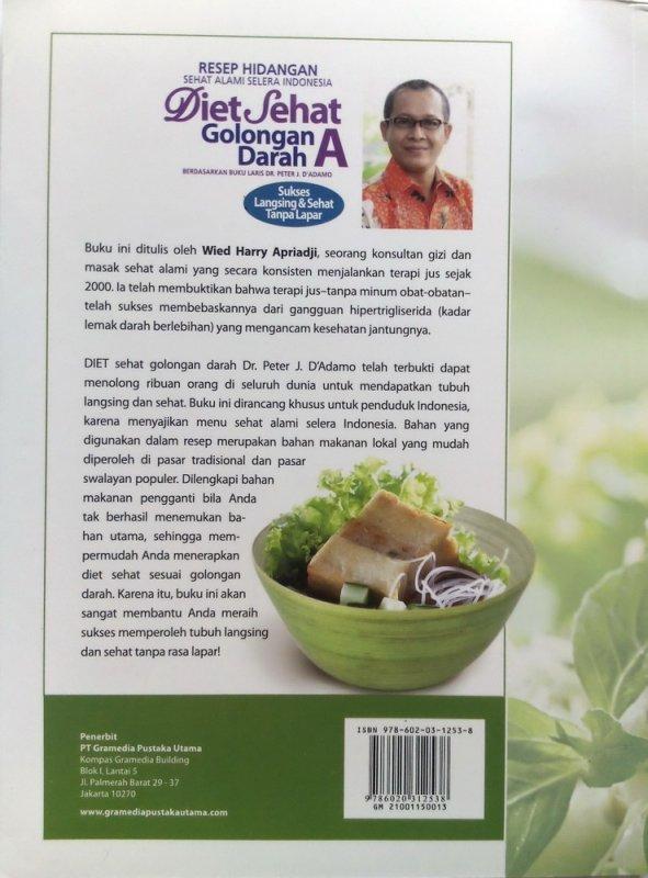 Cover Belakang Buku Resep Hidangan Sehat Alami Selera Indonesia Diet Sehat Golongan Darah A (Disc 50%)