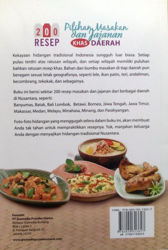 Cover Belakang Buku 200 Resep Pilihan Masakan dan Jajanan Khas Daerah (Disc 50%)
