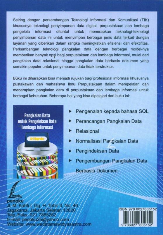 Cover Belakang Buku Pangkalan Data untuk Pengelolaan Data Lembaga Informasi
