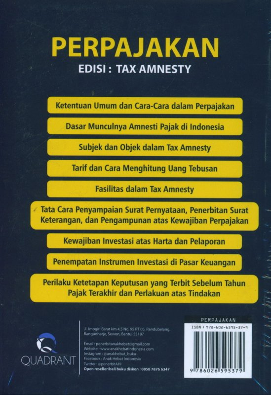 Cover Belakang Buku Perpajakan Edisi : Tax Amnesty