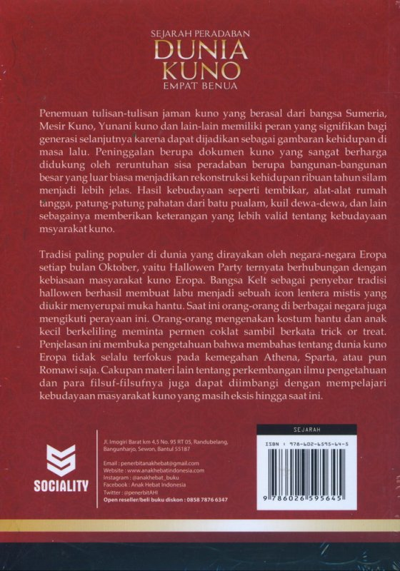 Cover Belakang Buku Sejarah Peradaban Dunia Kuno Empat Benua