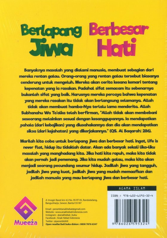 Cover Belakang Buku Berlapang Jiwa Berbesar Hati