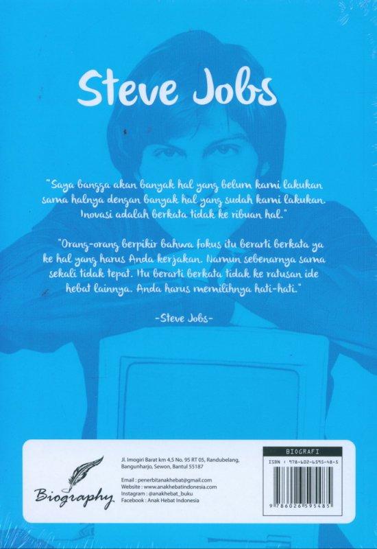 Cover Belakang Buku Steve Jobs: Kisah Hidup Seorang Seniman Komputer yang Mengubah Dunia
