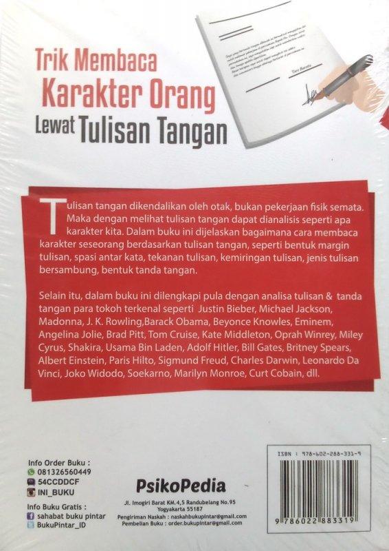 Cover Belakang Buku Trik Membaca Karakter Orang Lewat Tulisan Tangan (Disc 50%)