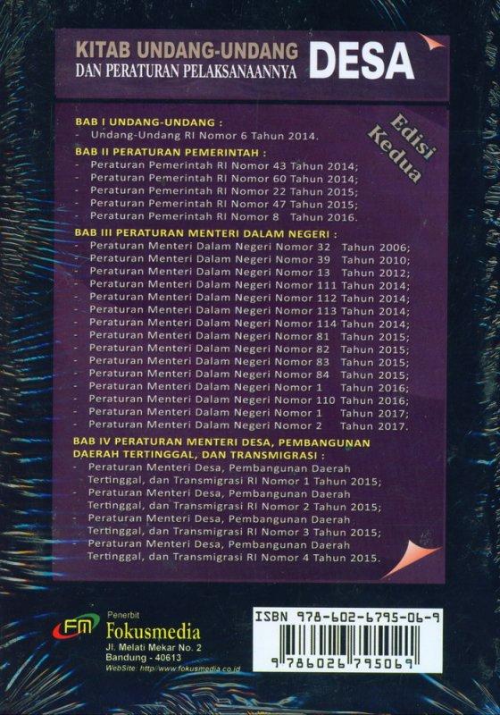Cover Belakang Buku Kitab Undang-Undang Desa Edisi Kedua