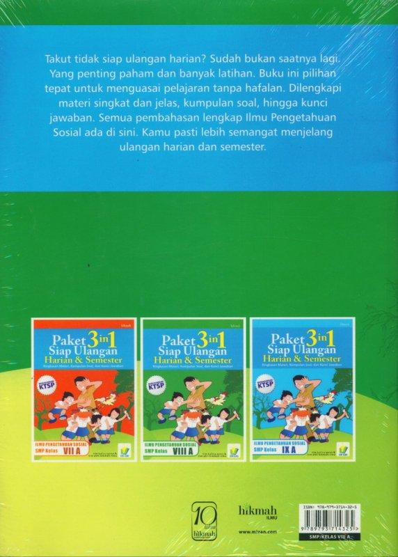 Cover Belakang Buku Paket 3 in 1 Siap Ulangan Harian & Semester Ilmu Pengetahuan Sosial VIII A