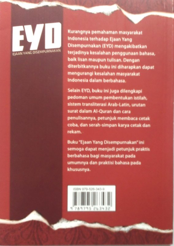 Cover Belakang Buku EYD (Ejaan Yang Disempurnakan) KEP. MENDIKBUD NO. 0543A TH.1987  (Disc 50%)