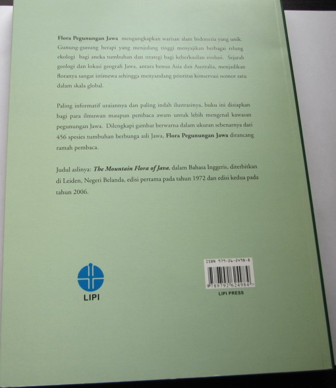 Cover Belakang Buku Flora Pegunungan Jawa (full color)