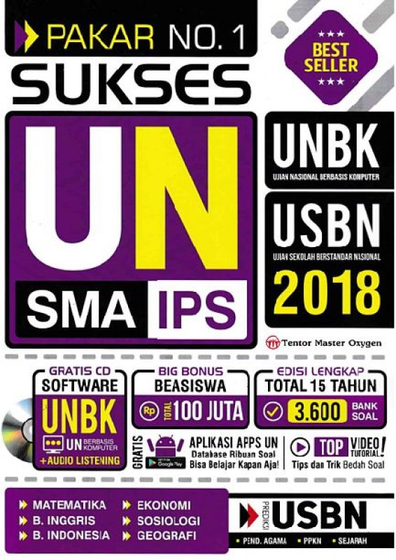 Cover Buku PAKAR NO. 1 SUKSES UN SMA IPS 2018