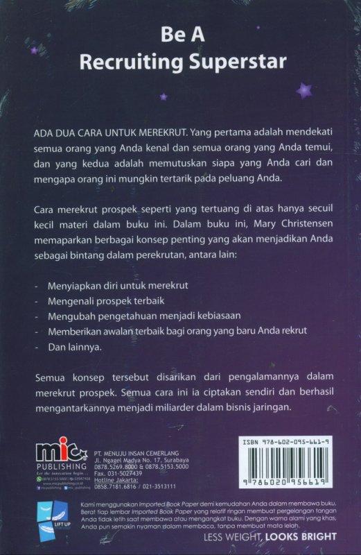 Cover Belakang Buku Be A Recruting Superstar: Jadilah Bintang Dalam Perekrutan