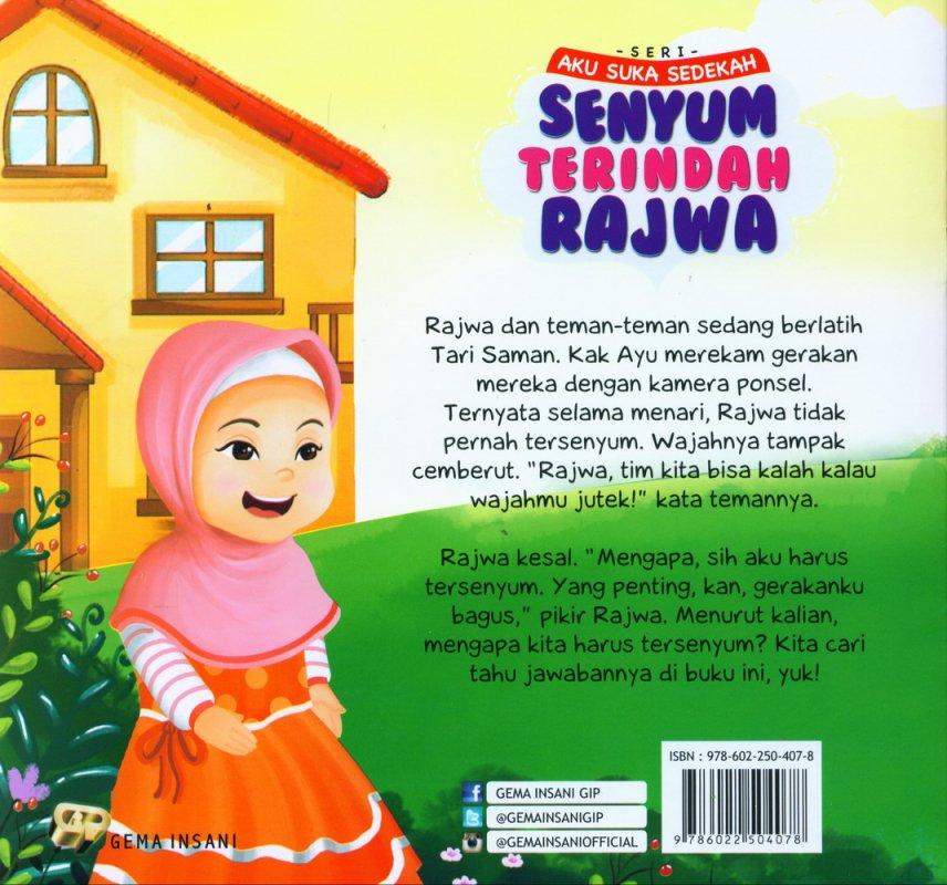 Cover Belakang Buku Seri Aku Suka Sedekah: Senyum Terindah Rajwa (full color)
