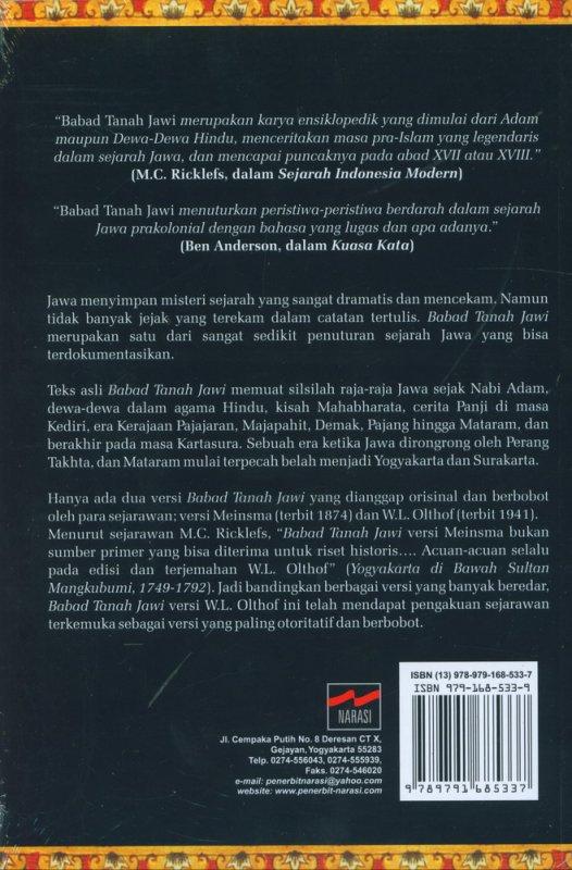 Cover Belakang Buku Babad Tanah Jawi Mulai dari Nabi Adam Sampai Runtuhnya Mataram
