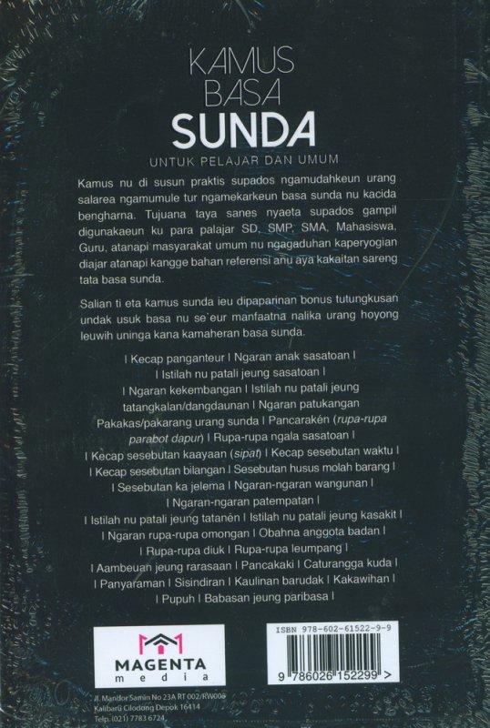 Cover Belakang Buku Kamus Basa Sunda Untuk Pelajar dan Umum