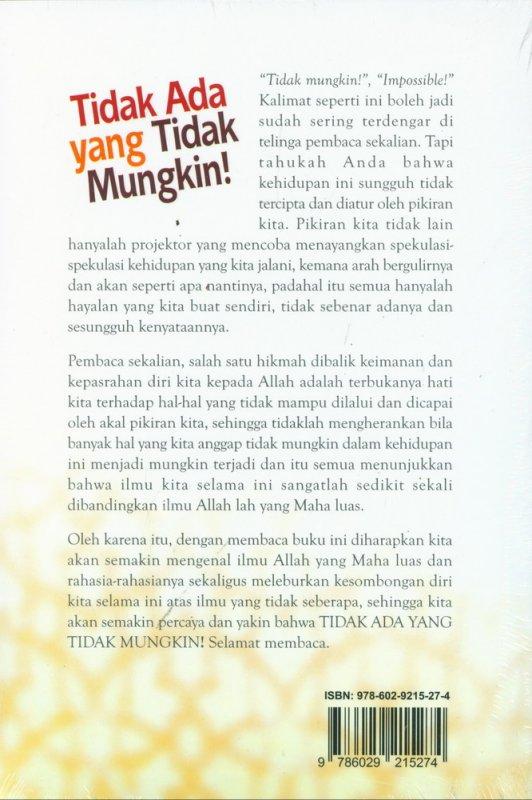Cover Belakang Buku Tidak Ada yang Tidak Mungkin!