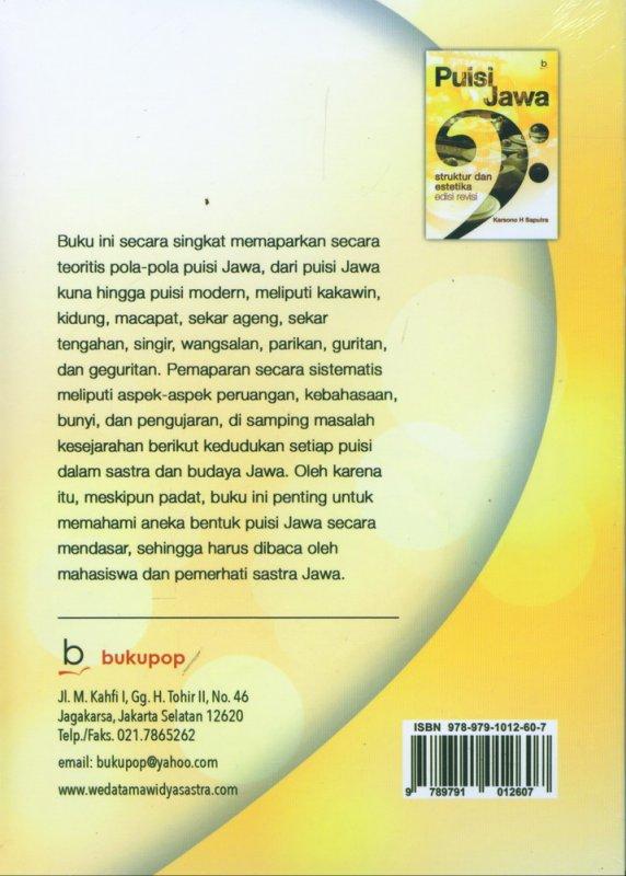 Cover Belakang Buku Puisi Jawa Struktur dan Estetika Edisi Revisi