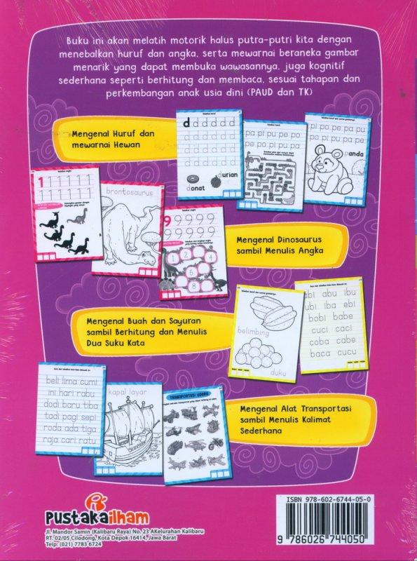Cover Belakang Buku Games Book & Copy Coloring Sambil Menulis Huruf dan Angka