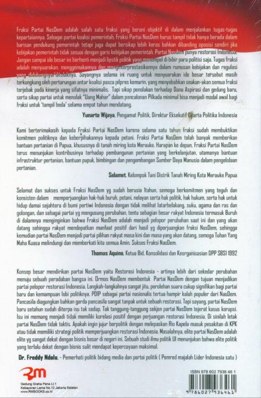 Cover Belakang Buku Restorasi Bersama Rakyat - Satu Tahun Kinerja Fraksi Partai NasDem