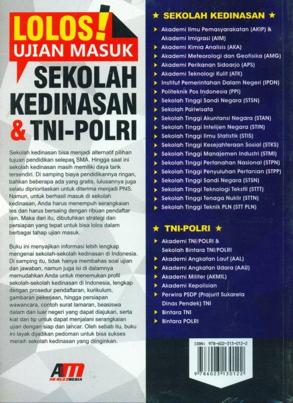 Cover Belakang Buku Lolos Ujian Masuk Sekolah Kedinasan & TNI POLRI