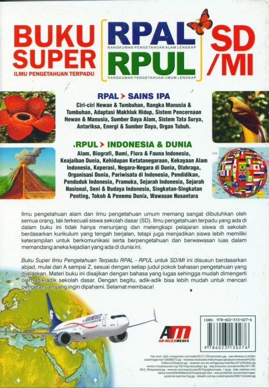 Cover Belakang Buku Buku Super Ilmu Pengetahuan Terpadu RPAL-RPUL SD/MI