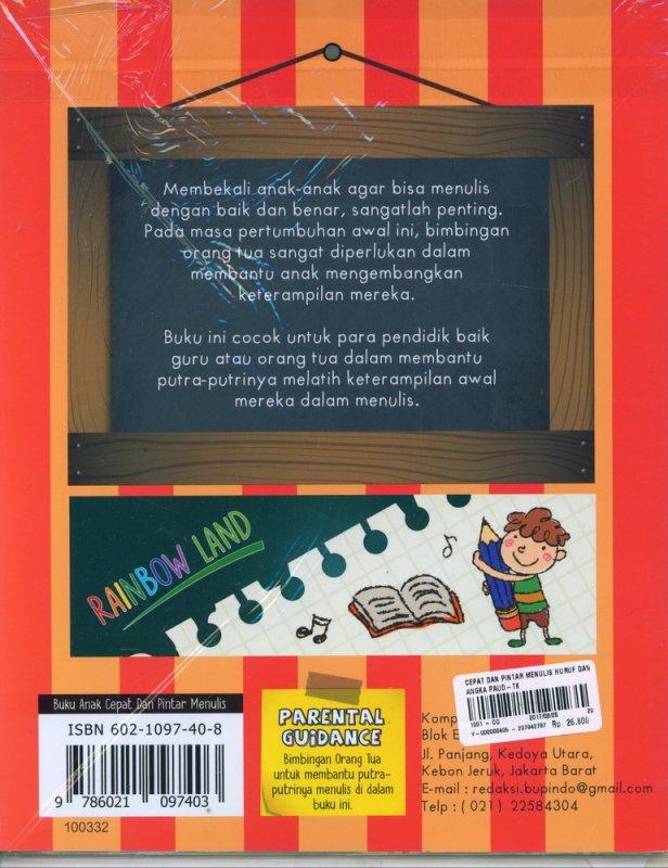 Cover Belakang Buku Cepat dan Pintar Menulis Huruf dan Angka (PAUD-TK)
