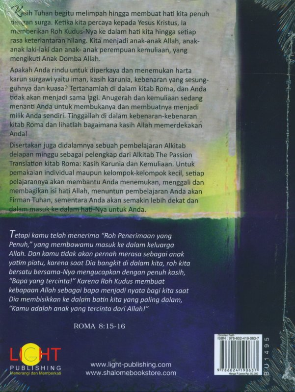 Cover Belakang Buku Roma Kasih Karunia dan Kemuliaan - The Passion Translation