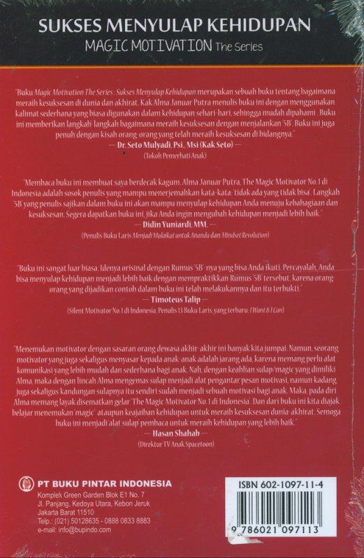 Cover Belakang Buku Sukses Menyulap Kehidupan - Magic Motivation The Series