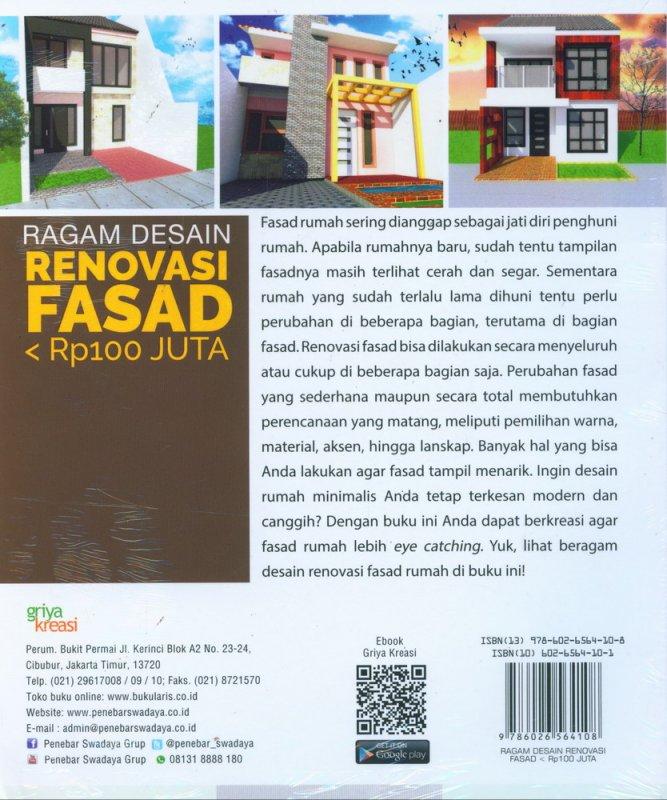 Cover Belakang Buku Ragam Desain Renovasi Fasad < Rp100 Juta