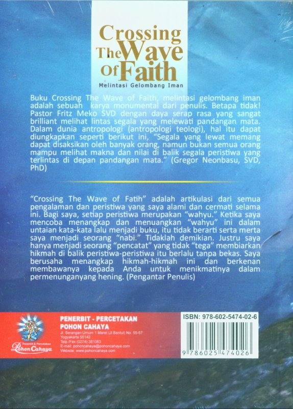 Cover Belakang Buku Crossing The Wave of Faith - Melintasi Gelombang Iman