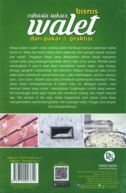 Cover Belakang Buku Rahasia Sukses Bisnis Walet dari Pakar & Praktisi