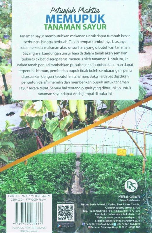 Cover Belakang Buku Petunjuk Praktis Memupuk Tanaman Sayur
