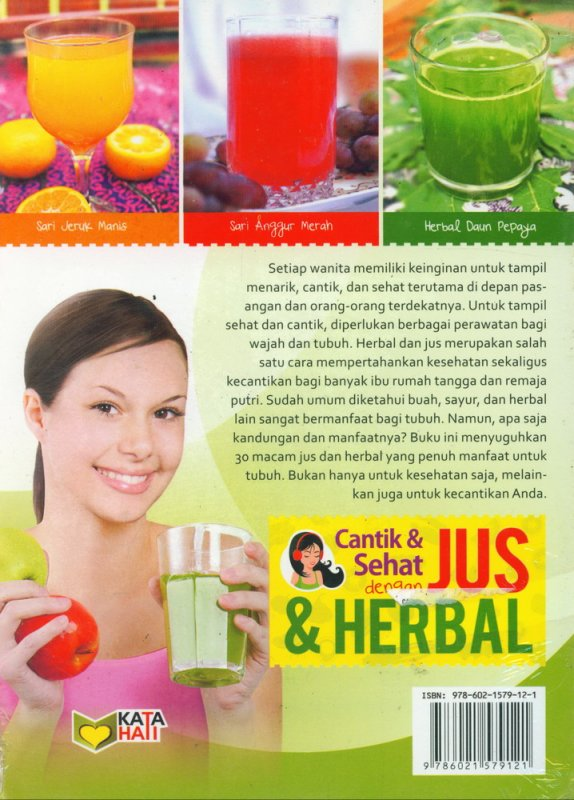 Cover Belakang Buku Cantik & Sehat dengan Jus & Herbal (Full Color)