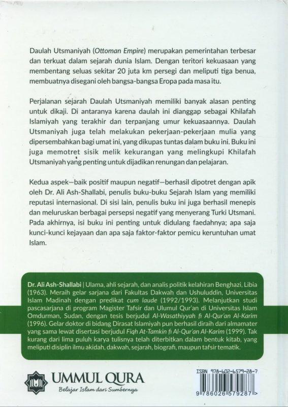 Cover Belakang Buku Sejarah daulah Utsmaniyah : Faktor-Faktor Kebangkitan & Sebab-Sebab Keruntuhannya (Hard Cover)