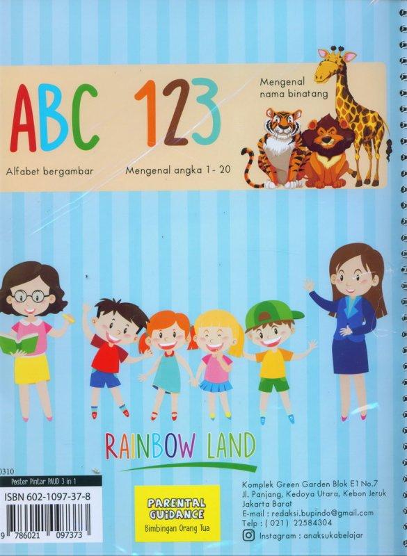 Cover Belakang Buku Poster Pintar 3 in 1: ALFABET, MENGENAL ANGKA, MENGENAL BINATANG