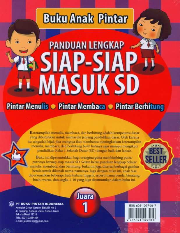 Cover Belakang Buku Buku Anak Pintar: Panduan Lengkap Siap-Siap Masuk SD