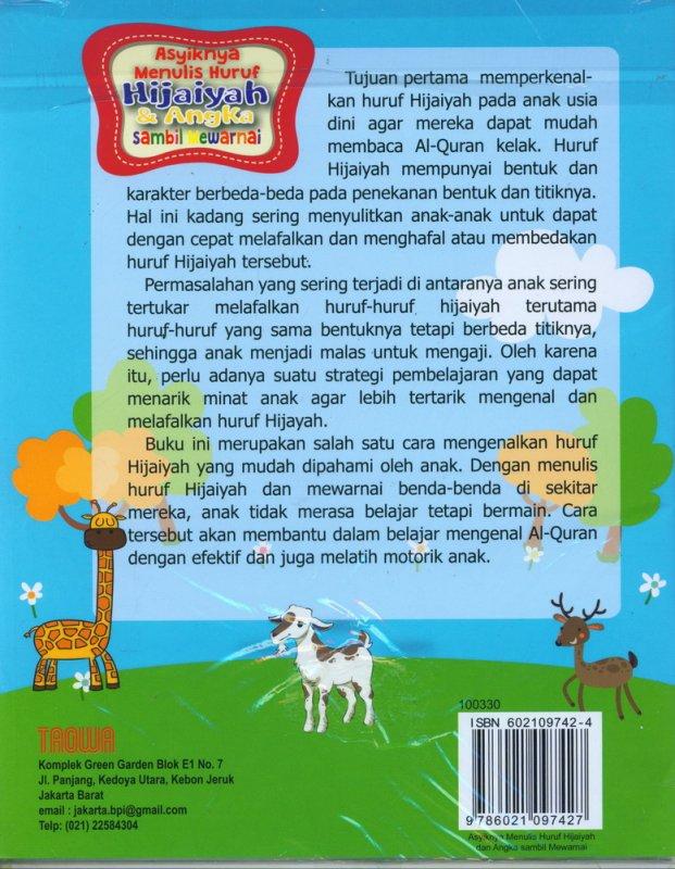 Cover Belakang Buku Asyiknya Menulis Huruf Hijaiyah & Angka Sambil Mewarnai