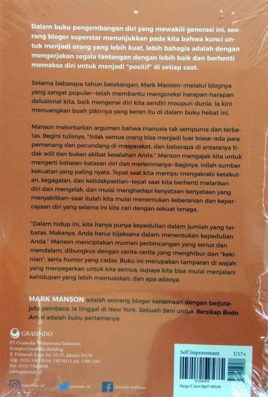 Cover Belakang Buku Sebuah Seni untuk Bersikap Bodo Amat