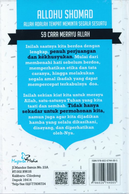 Cover Belakang Buku Allohu Shomad: 59 Cara Merayu Allah (Hard Cover)