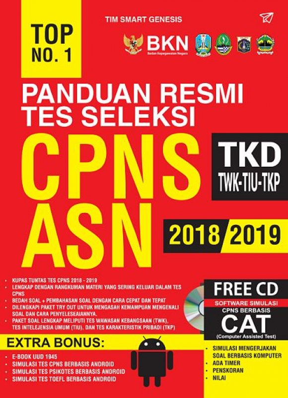 Cover Buku TOP NO. 1 PANDUAN RESMI TES SELEKSI CPNS ASN 2018-2019