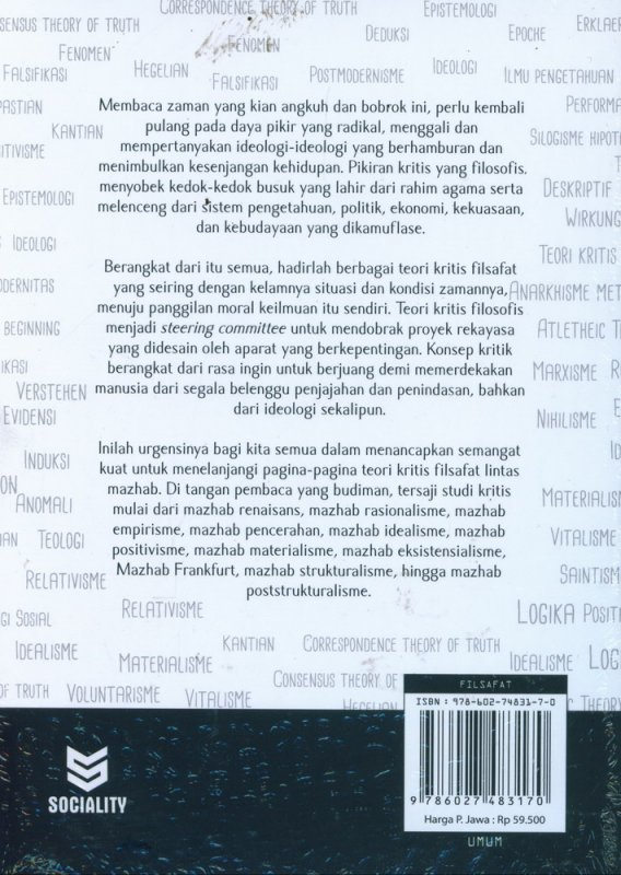 Cover Belakang Buku Teori Kritis Filsafat Lintas Mazhab