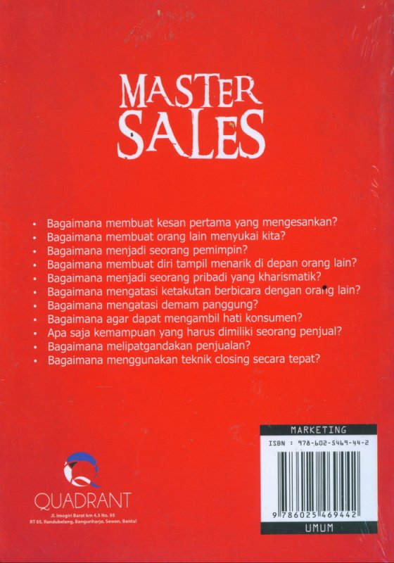 Cover Belakang Buku Master Sales: Bagaimana Melipatgandakan Penjualan di Tengah Persaingan