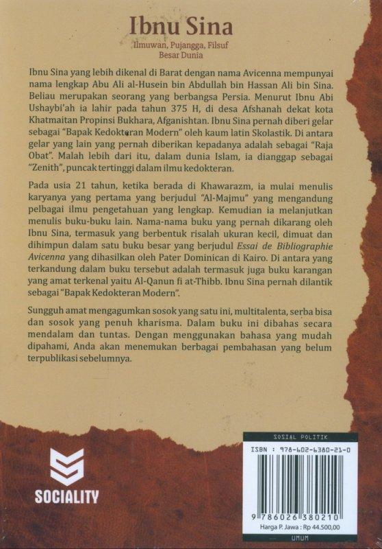 Cover Belakang Buku Ibnu Sina Ilmuwan, Pujangga, Filsuf Besar Dunia