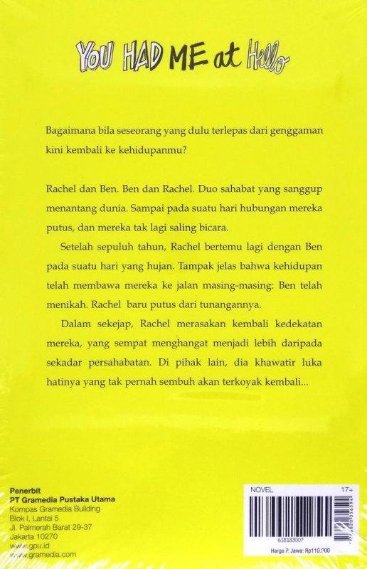 Cover Belakang Buku ChickLit: You Had Me at Hello